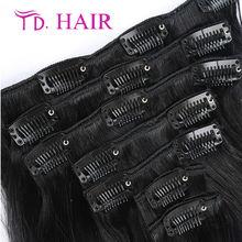 #1  Virgin Brazilian Hair Clip In Extensions no shedding Clip In Brazilian Hair Extensions  Black Clip In Human Hair Extensions