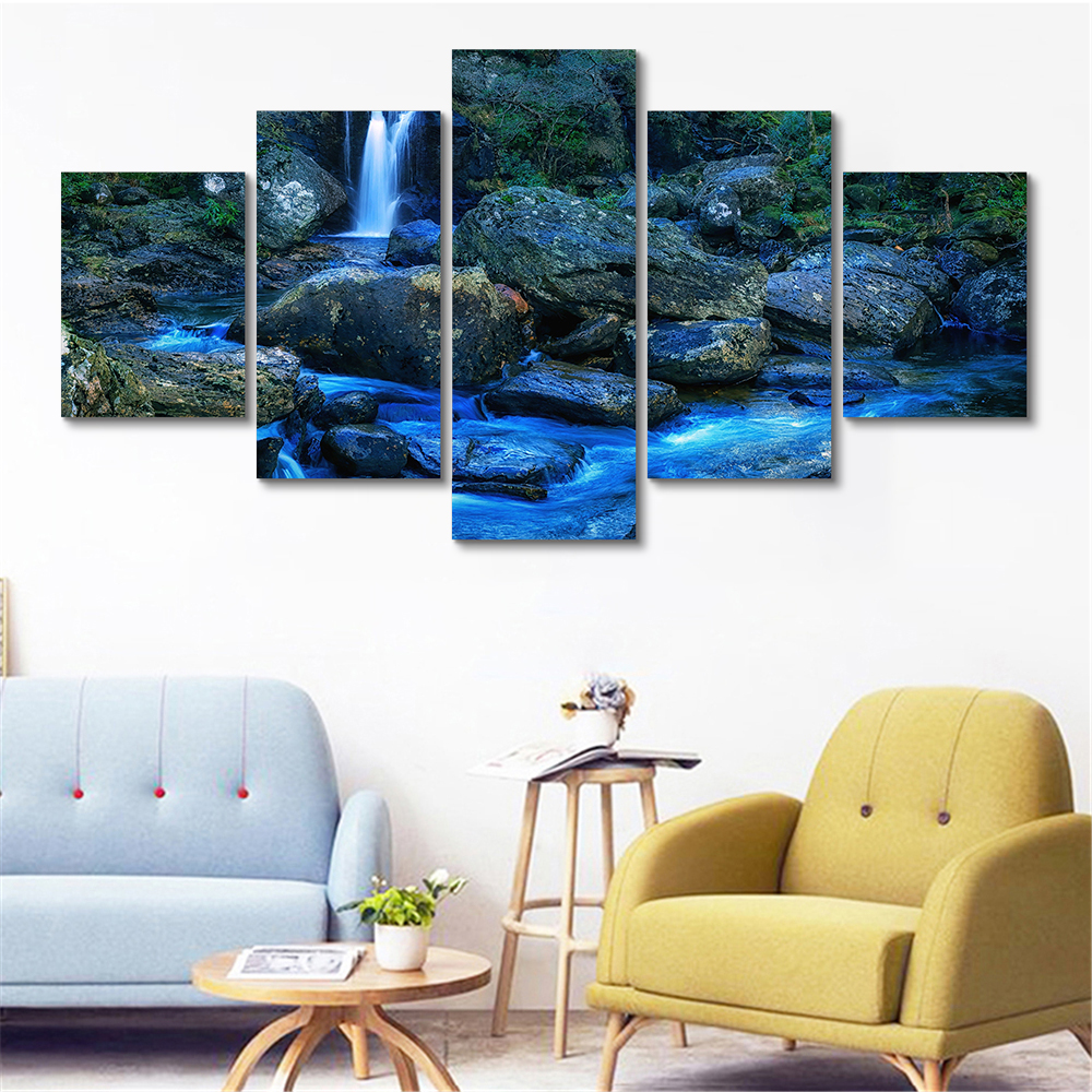 Loch Lomond National Parks Waterfall Wall Pictures for Living Room 5 Panel Walll Art Beauty Poster Canvas Printing Cuadros image