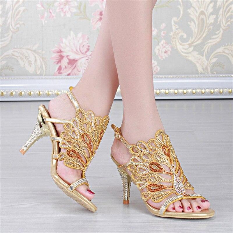 2016 Summer New Women s Luxury Diamond Female Handmade Sandals And Slippers Stiletto Shoes High Heels