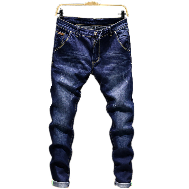 2019 Fashion New Men's Casual Boutique Slim Washed White Denim Trousers / Men's Stovepipe Pencil Stretch Denim Trousers