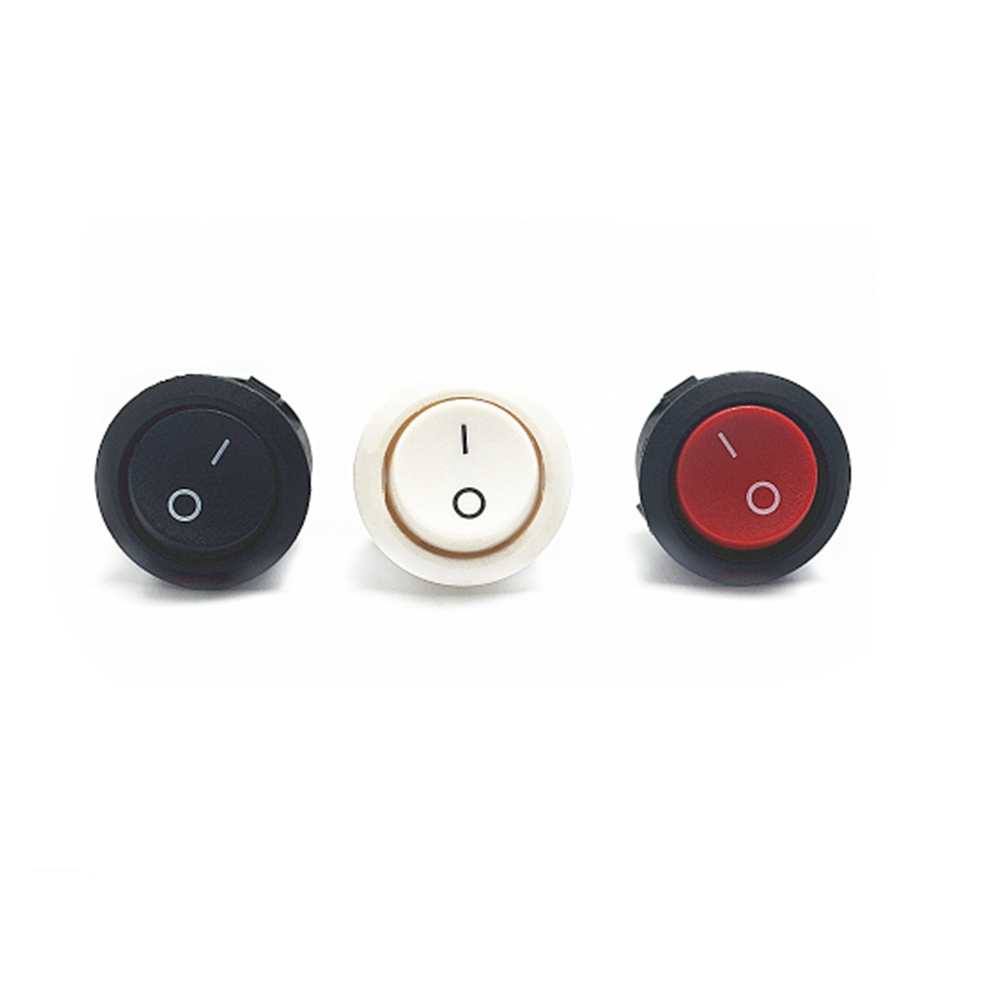 2/5/10pcs Red Black White ON/OFF Rodada Rocker Toggle Switch 6A/250VAC 10A 125VAC Plástico Botão Interruptor