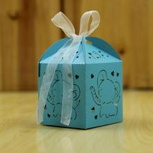 50pcs/pack Cute Elephant Baby Shower Candy Box Gift Party Show Favor Decoration Kids Birthday Decorations
