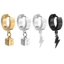 1 пара, Панк Квадратные серьги-подвески для мужчин, унисекс, нержавеющая сталь, светильник в кости, висячие серьги для женщин, ювелирные изделия Для Пирсинга Ушей