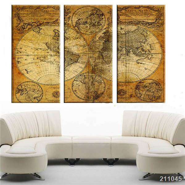 3 panels vintage world map wall painting printed canvas painting 3 panels vintage world map wall painting printed canvas painting home decor wall art wall pictures gumiabroncs Choice Image
