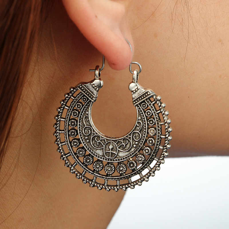 Hot Indian Tribal Kuningan Menjuntai Drop Anting-Anting Hollow Bunga Hiasan Swirl Etnis Anting-Anting untuk Wanita Bohemia Vintage Jewelrys G