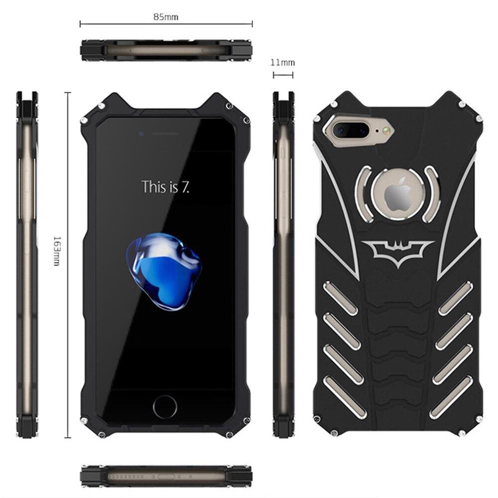 imágenes para R-JUST I7 I7 Más Doom Heavy Duty Armor Caso de la Cubierta de Lujo Metal De Aluminio Cajas Del Teléfono Móvil Para el iphone de Apple 7 7 Plus bolsas