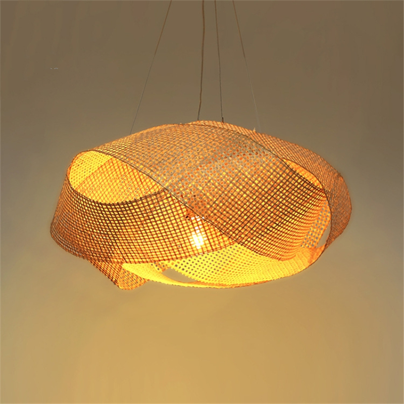 New Chinese Luminaire Suspendu Hanging Lamp Southeast Asia Pendant Lights Bamboo Lights Hand made Rattan Knitted Light Fixtures
