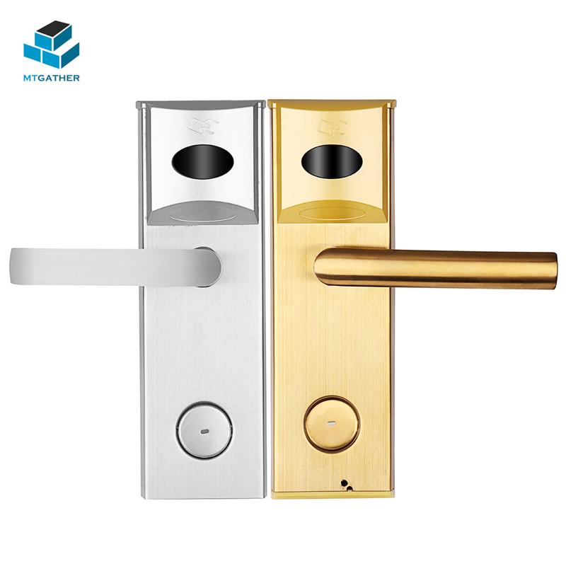 MTGATHER Gold/Silver Smart Handle Door Lock Intelligent Electronic Sensor Door Locks With One Total Card Four Daughter Cards non standard die cut plastic combo cards die cut greeting card one big card with 3 mini key tag card