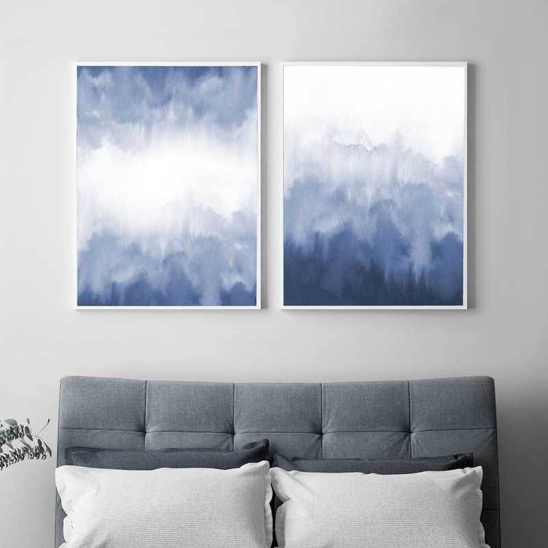 Blue Watercolor Blot Blur Abstract Painting Print Nordic Posters and Prints Modern Wall Art Pictures for Living Room Home Decor