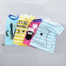 Топы для маленьких детей; футболка с короткими рукавами для мальчиков и девочек; хлопковая Футболка с рисунком для детей от 9 месяцев до 24 месяцев