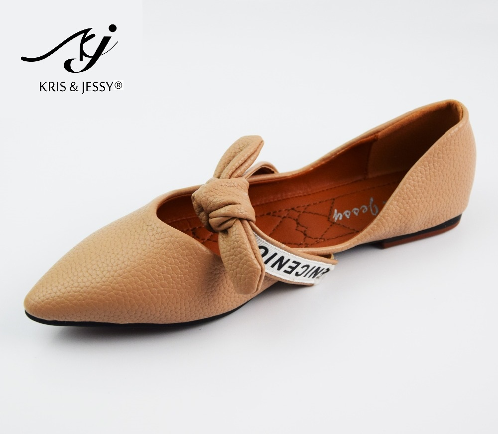 Pointed Toe Flats Shoes Women Slip-On Comfortable Single Sweet Bow Tie Flats Spring Autumn Women Shoes Size 36-40 Zapatos Mujer new 2017 spring summer women shoes pointed toe high quality brand fashion womens flats ladies plus size 41 sweet flock t179