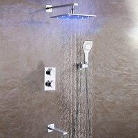 Ванная комната дождь смеситель для душа Установить термостат смеситель для ванны клапан Медь душ Системы Панель латунь осадков 3 цвета свет