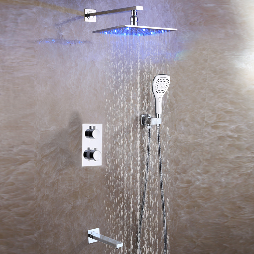 Bathroom Rain Shower Faucet Set Thermostat Bath Faucet Valve Copper Shower System Panel Brass Rainfall 3 Color LED Shower Head bathroom shower faucet chrome or brushed led rain shower system set embedded box thermostat mixer valve control shower head way