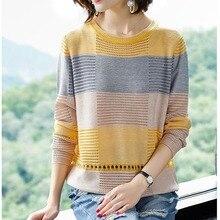 Women Hollow Out Pullover Summer Cool Ladies Knitted Crochet Tops Casual Yellow Jumper Knit Korea Striped Female Knitwear цена в Москве и Питере