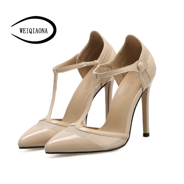 9370509721291f WEIQIAONA Women Pumps Retro Sexy T Bands High Heels Wedding Party Woman  Shoes Heels Zapatos Mujer