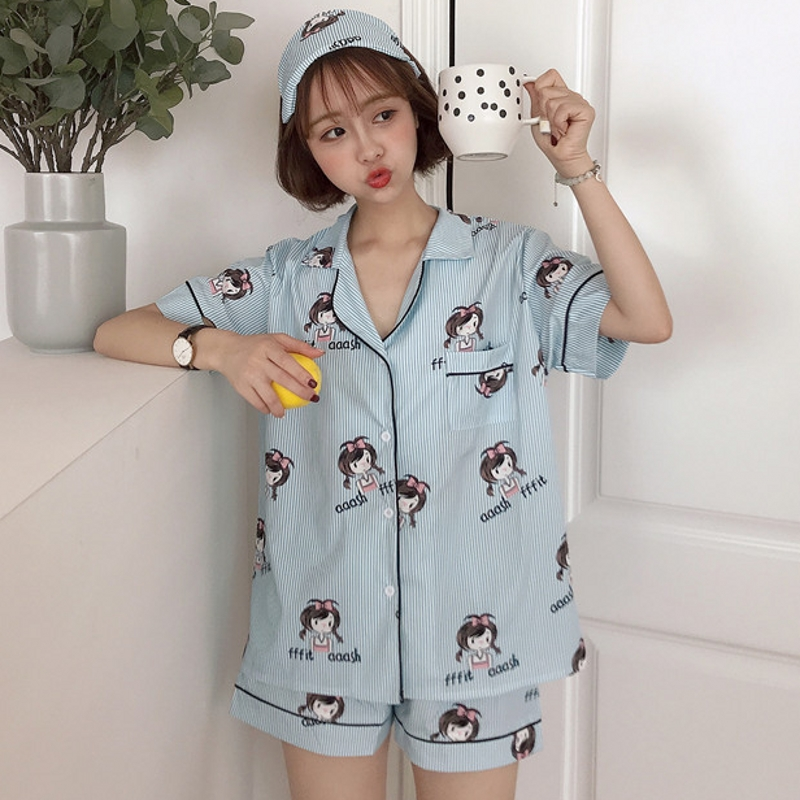 Cute Print Striped Girls Pajama Sets 3 Pieces Set Short Sleeve Top + Shorts Elastic Waist +Blinder Loose pyjamas feminino S84903 ...