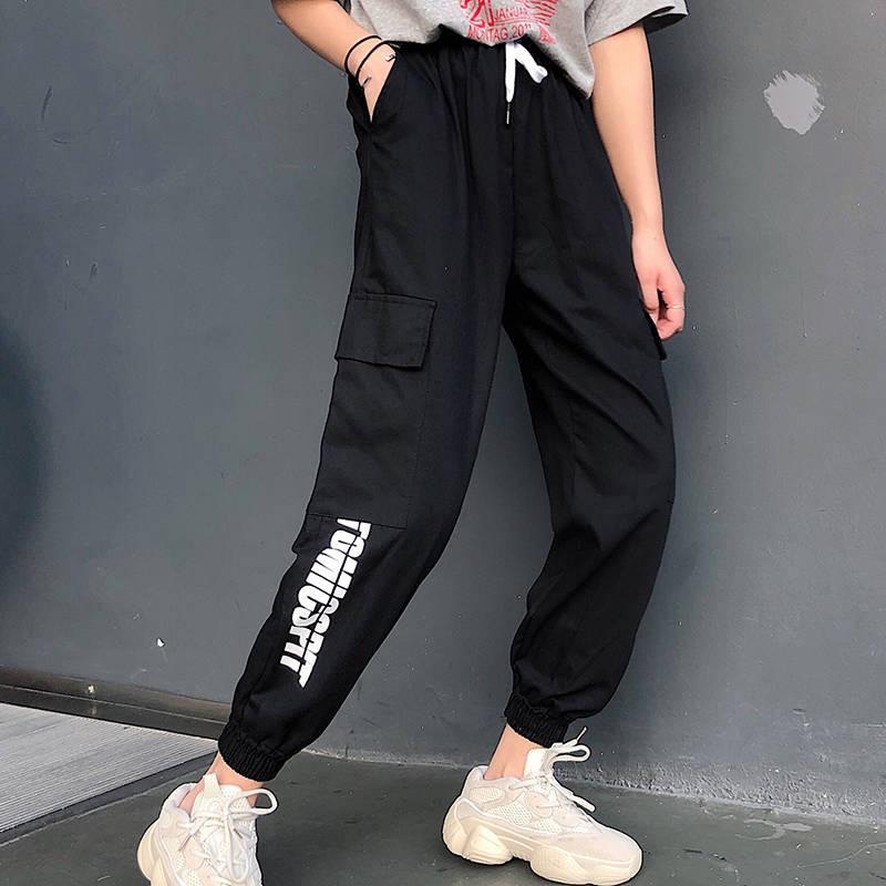 Harajuku Casual Black Cargo Pants Women Elastic High Waist Pants Capris Streetwear Korean Sweatpants Joggers Hip Hop Pants Girl