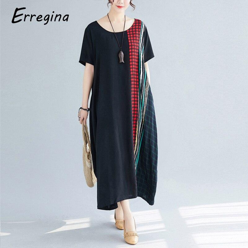 Erregina femmes Vintage robe en lin 2019 été chemise robe à manches courtes solide décontracté lâche fête plage Plaid Maxi Long Vestidos