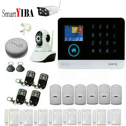 SmartYIBA 433MHz Wireless Home Burglar GSM SMS Alarm System, English Russian Spanish French Language Touch Keyboard