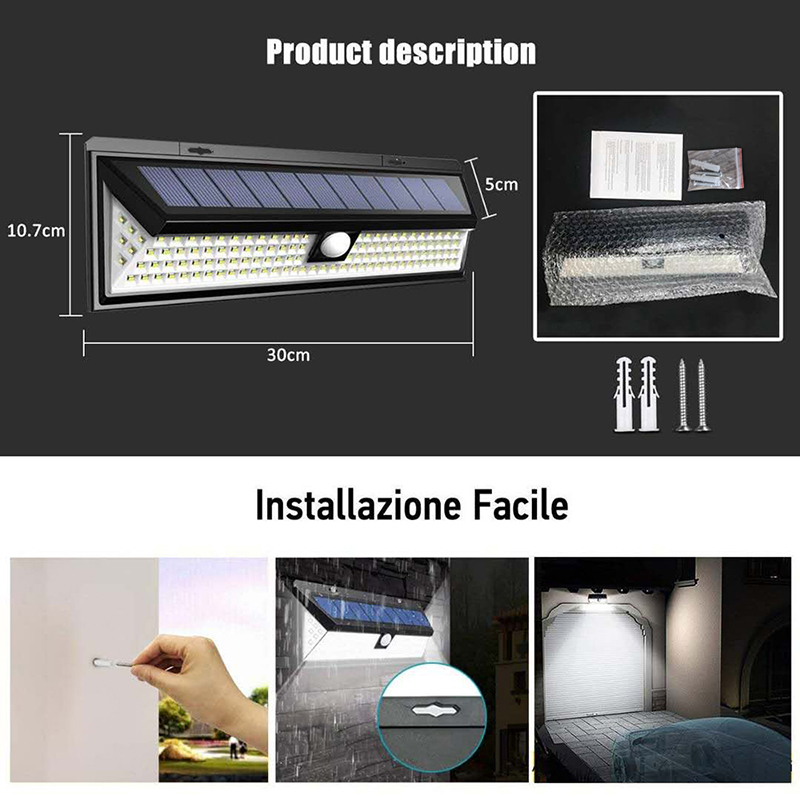 Outdoor Solar Light with 118 LED in 3 Modes and Motion Sensor Powered by Sunlight for Streets and Garden 2