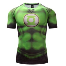 2017 New Green Lantern Superhero Iron Man T Shirts Compression Shirt 3D Short Sleeve Fitness Men Brand t shirts