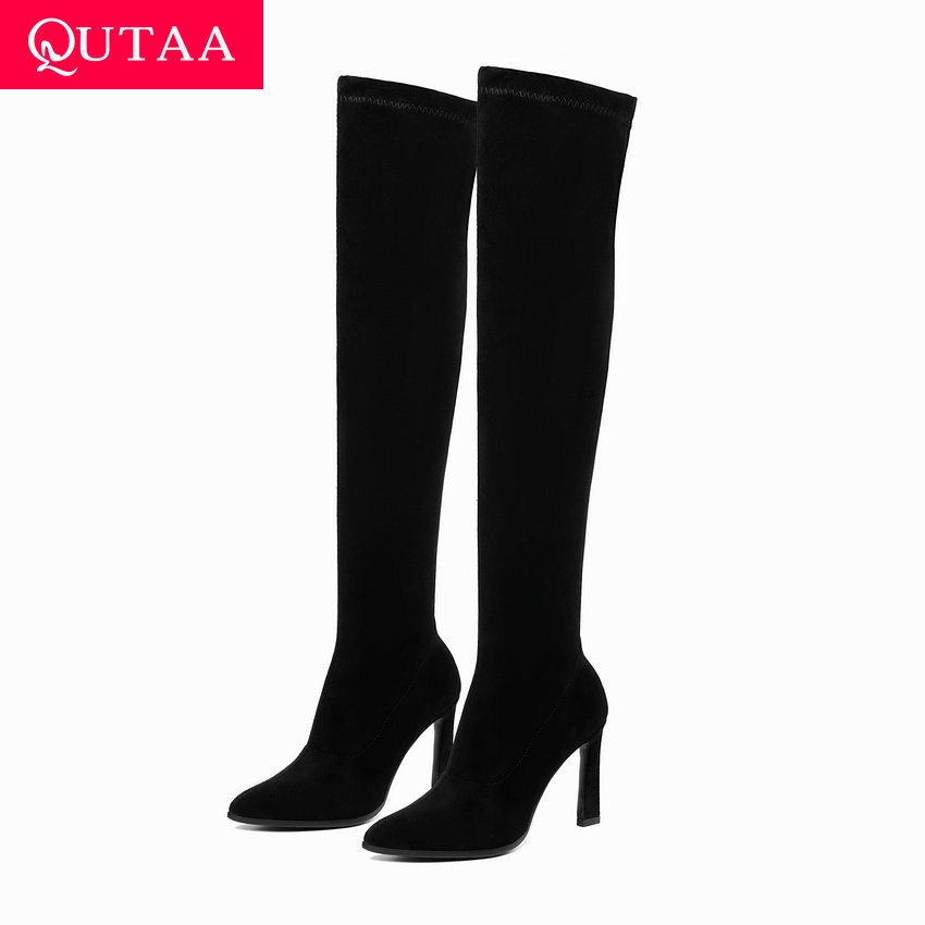 QUTAA 2020 High Heel Long Platform Women Boots Fashion Women Shoes Sexy Pointed Toe Winter Over The Knee Woman Boots  Size 34-43QUTAA 2020 High Heel Long Platform Women Boots Fashion Women Shoes Sexy Pointed Toe Winter Over The Knee Woman Boots  Size 34-43
