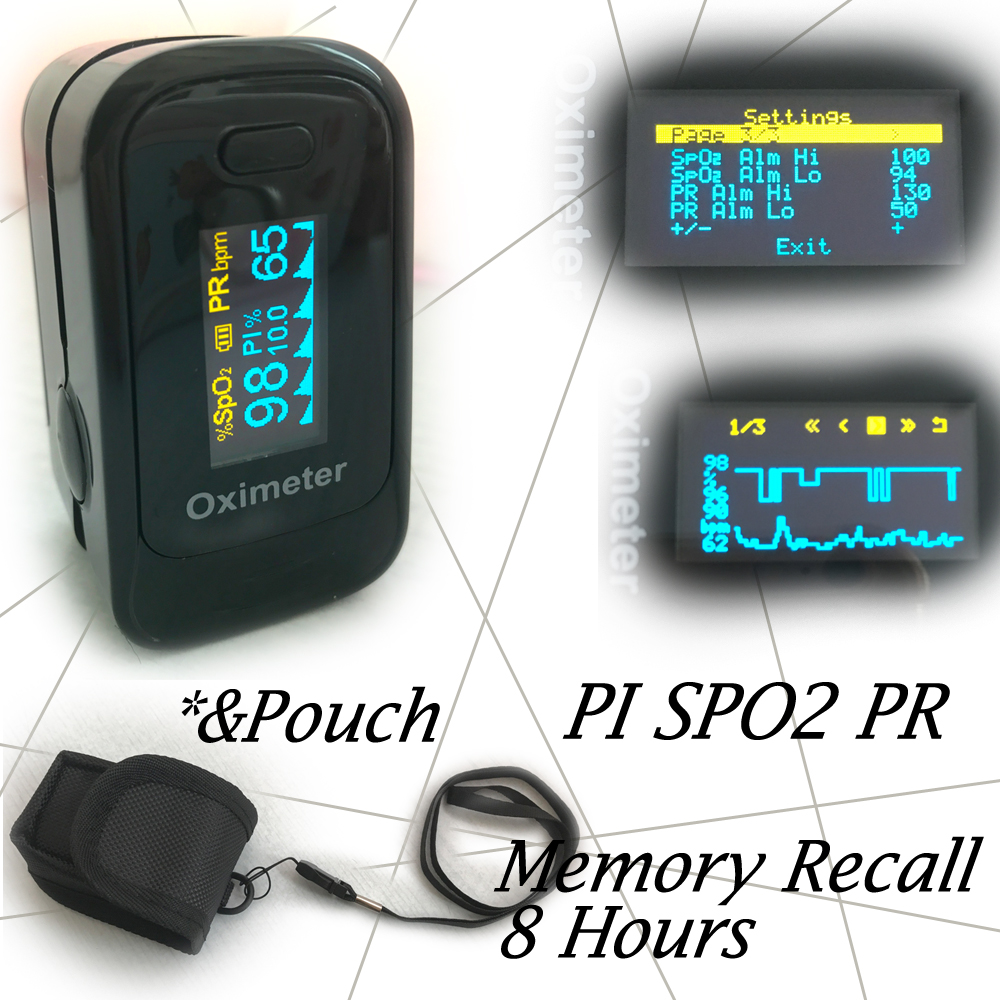with Pouch Pulse Oximeter Visual Alarm Beep Sound SPO2 PR Memory Recall 8 Hours PI Perfusion Index Blood Oxygen Monitor