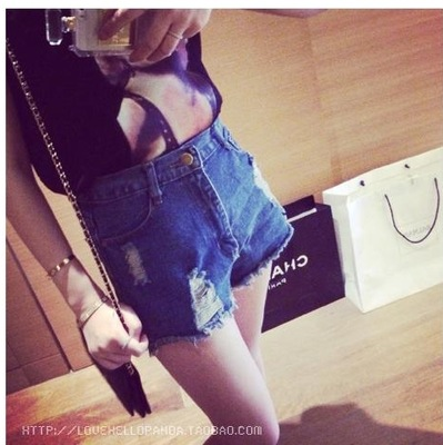 hot!!jeans Summer Women Denim Shorts For Girls Ripped High Waisted Shorts Jeans Elastic Waist Hot Jeans Casual Denim Shorts stylish denim ripped shorts for women