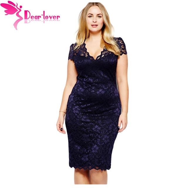Caro amante roupas femininas verão vestido azul marinho de renda scalloped v-neck lace além disso xxl senhoras escritório midi party dress lc6415