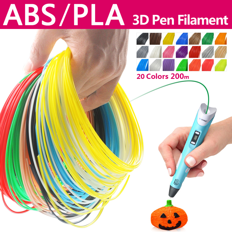 Kualiti produk pla / abs 1.75mm 20 warna 3d pen filamen pla 1.75mm pla filament abs filament 3d pen plastic 3d filament rainbow