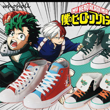 WHOHOLL Japanese Cartoon Anime Print Canvas Shoes Man Women Couple My Hero Academia Casual Flat Bakugou vulcanize shoes