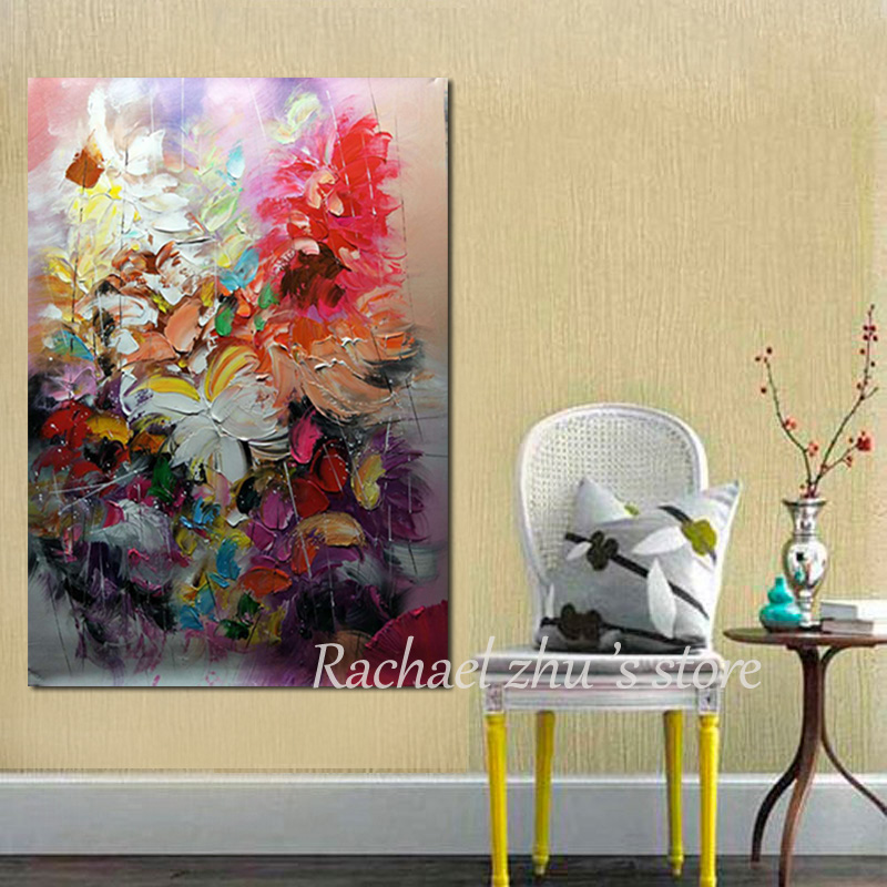 100%Hand Painted Abstract Palette Knife Purple Flower Oil Painting ...