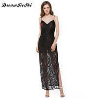 Dreamjieshi Summer Dress 2017 Women S Sexy Spaghetti Strap Lace Mid Calf Long Dress Crochet V