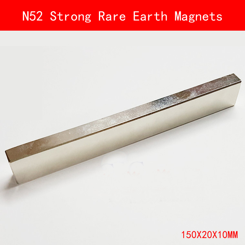 1PCS long strip 150X20X10mm N52 Super Powerful Strong Rare Earth Magnet permanent N52 plating Nickel Magnets 150mm*20mm*10mm the long war long earth 2