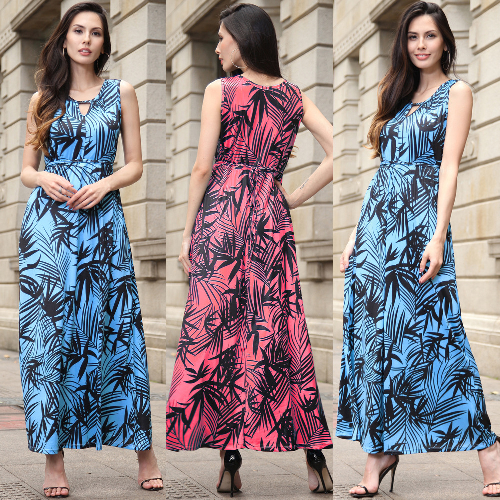 2018 Summer Sleeveless fashion Women Long dress Boho Female Big Swing Hem Ankle-Length Length Floral Print Beach Dreses