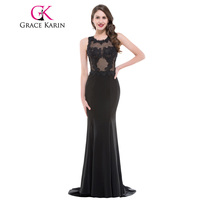 Grace Karin Evening Dress Long Black Elegant O Neck Satin Formal Gowns Appliques Lace See Through Mermaid Evening Dress 2017
