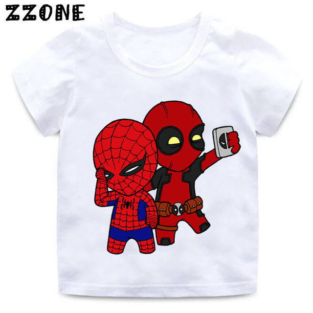 Us 487 21 Offdeadpool Spiderman Superhero Lustige Kinder T Shirt Sommer Tops Baby Jungenmädchen T Shirt Kinder Kleidung Hkp2407 In Deadpool