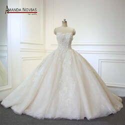 2019 vestido de noiva Новый Настоящее роскошный платья со шлейфом Свадебное Платье Аманда Novias реальные фотографии