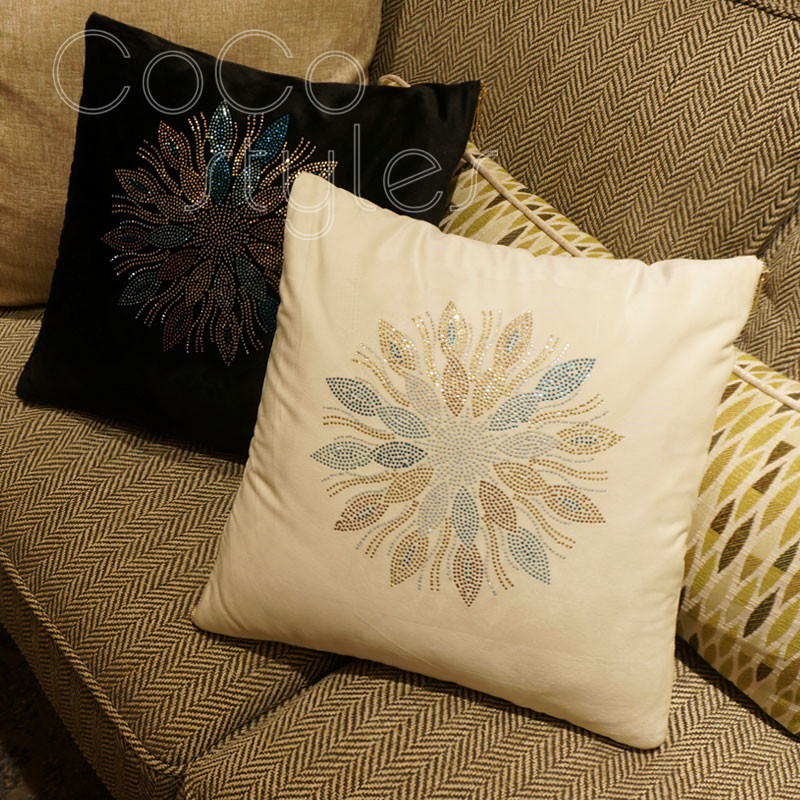 Cocostyles InsFashion Superb Black And White Handmade Silk Cushion With Hot Drilling For Luxury European Style Home Decor