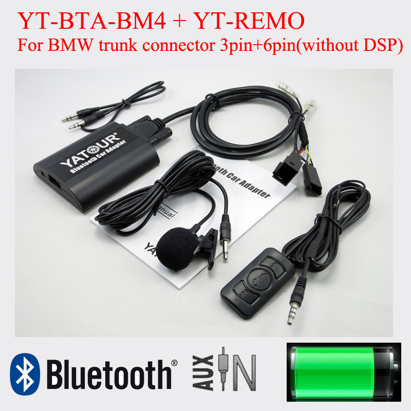 Yatour car audio Bluetooth kit with remote control for BMW trunk connector 3pin+6pin radio bluetooth