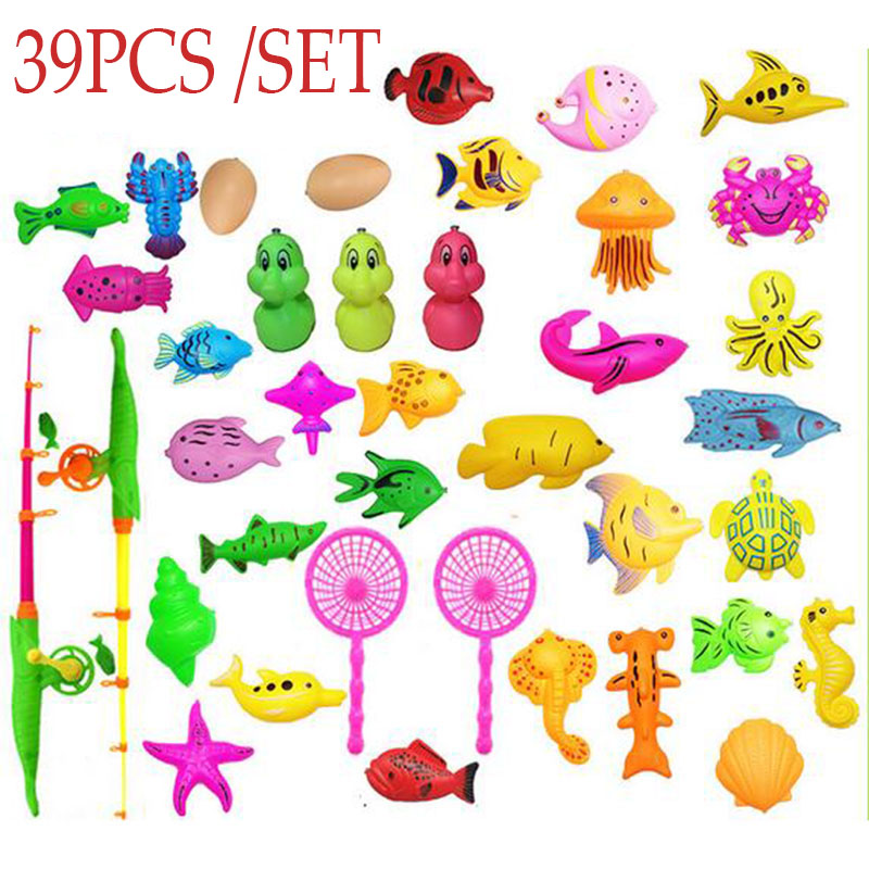 39 pcs / set Toddler Magnetic Fishing Pole Tools Bath Toys Game Summer outdoors indoor Fishing toy Kids Baby educational toy