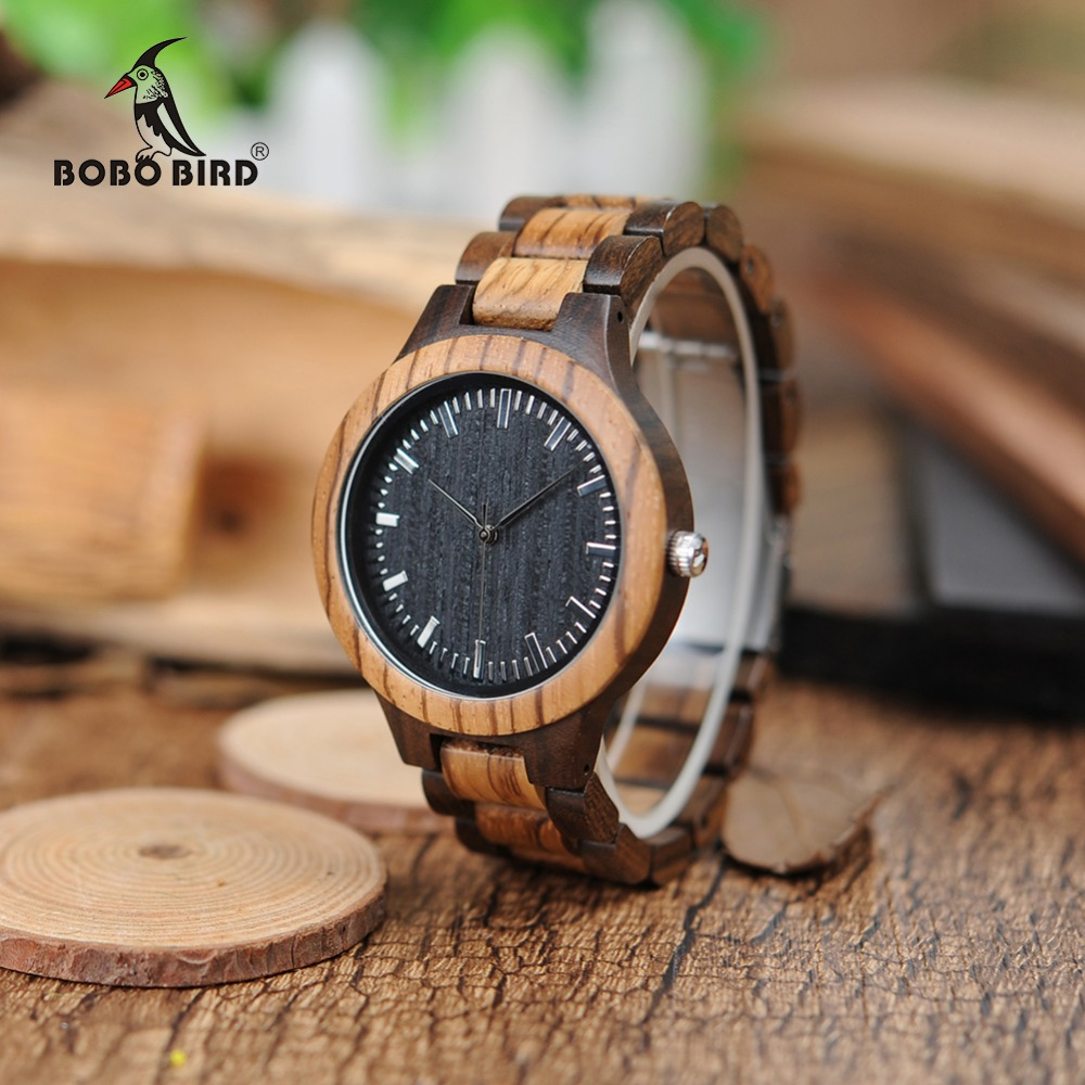 BOBO BIRD WD30 Brand Designer Mens Zebra Wood Watch Wooden Band Quartz Watches for Men Japan miyota 2035 Watch in Wood Box bobo bird brand new wood sunglasses with wood box polarized for men and women beech wooden sun glasses cool oculos 2017
