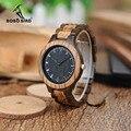 BOBO VOGEL WD30 Merk Designer Mens Zebra Hout Horloge Houten Band Quartz Horloges voor Mannen Japan miyota 2035 Horloge in Houten Doos
