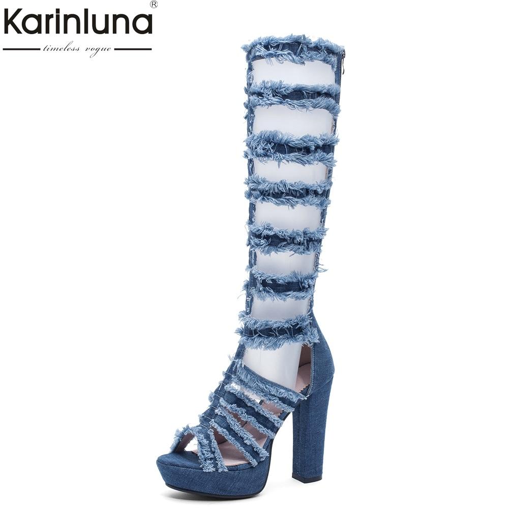 2019 plate-forme denim bottes d'été femmes chaussures 2019 été grande taille 43 Cool femmes super talons chaussures femme genou bottes hautes