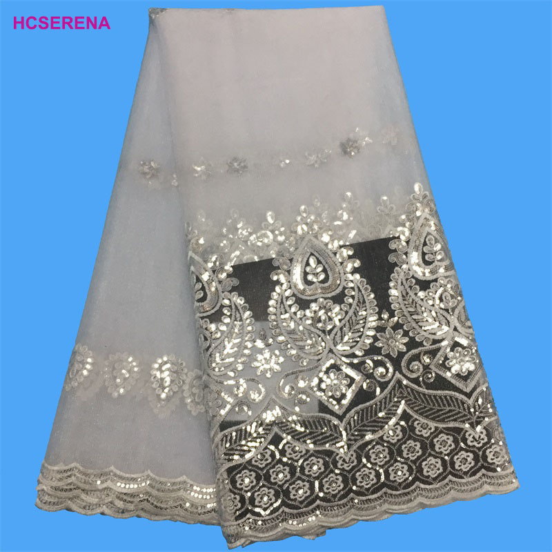 wholesale!African Lace Fabric 2018 High Quality African Tulle With Sequins French Net For Women Dress New white