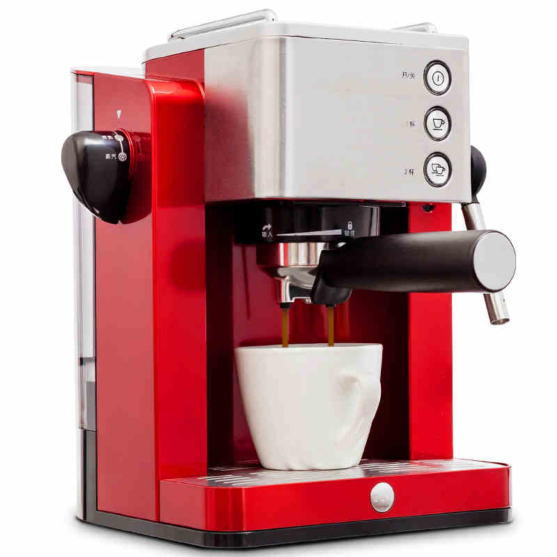 Coffee Machine Pump Coffee Machine TSK-1827RB Espresso Coffee Machine Household Semi-Automatic Steam Freshly Ground Coffee Maker