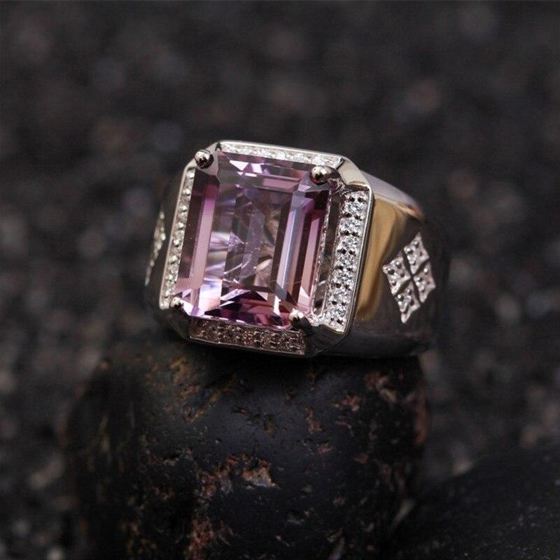 Amethy anneau De Luxe pierre Naturelle anneaux pour hommes argent inlay pourpre amethst cristal de fiançailles anniversaire