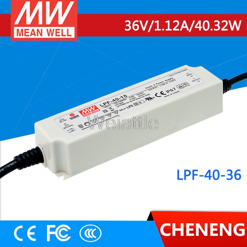 MEAN WELL original LPF-40-36 36V 1.12A meanwell LPF-40 36V 40.32W Single Output LED Switching Power Supply mean well original lpf 40 30 30v 1 34a meanwell lpf 40 30v 40 2w single output led switching power supply
