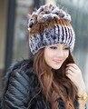 Топ мода 2016 зимняя шапка для женщин реального рекс кролика шляпы с silver fox меховой цветок трикотажные шапочки новый продажа cap бесплатно доставка
