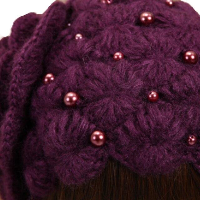 Winter Wool Beanies Purple Flowers Women 2018 5